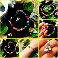 Rainbow Illusion Bracelet with ceramic Rainbow charm