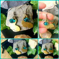 Bronze Butterfly Earrings with teal faceted glass cut bead