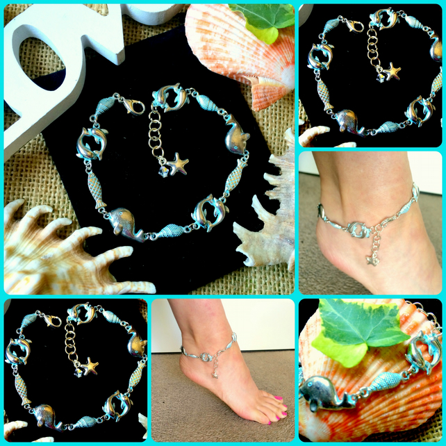 Sea Themed Sparkly ANKLET Ankle Bracelet - Swarovski crystal