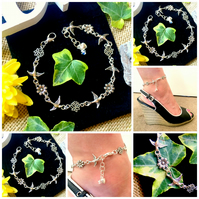 Bird and Flower ANKLET Ankle Bracelet