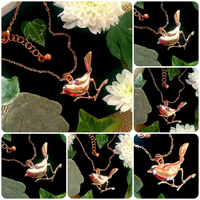 "Rose Gold colour Bird Necklace on an 18"" chain"