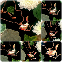 "Offer - Rose Gold colour Bird Necklace on an 18"" chain"