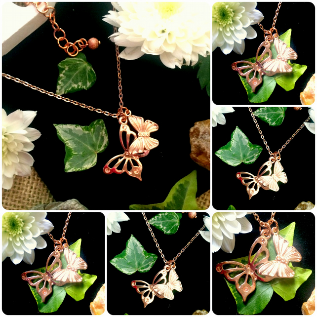 "Rose Gold colour Double Butterfly Necklace on an 18"" chain"