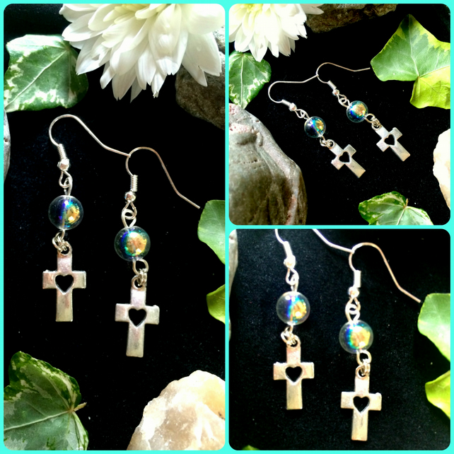 Cross and clear glass Bead drop earrings :-)