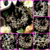Cross Charm bracelet - over 25 crosses