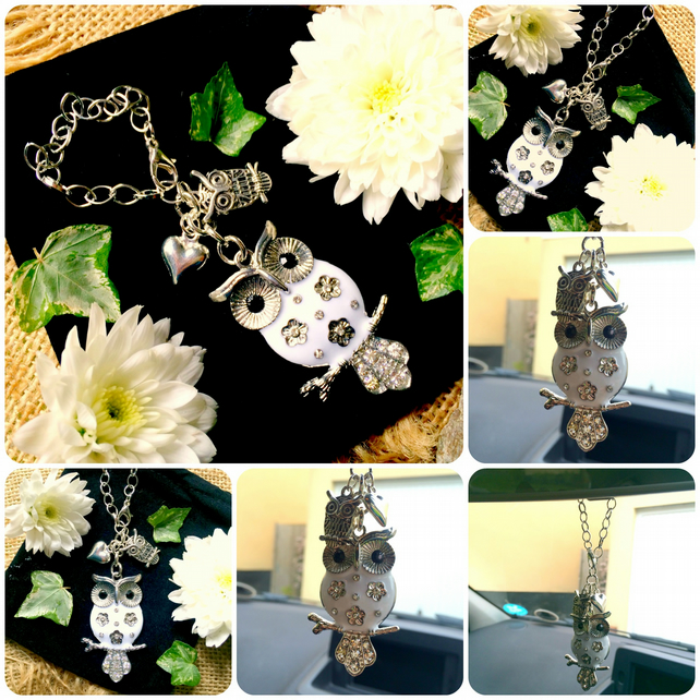 OWL & HEART Car Rear View Mirror Charm