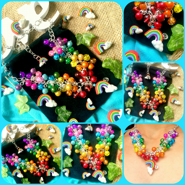 "Rainbow Cluster Necklace with eyecatching miracle beads on 18"" chain"