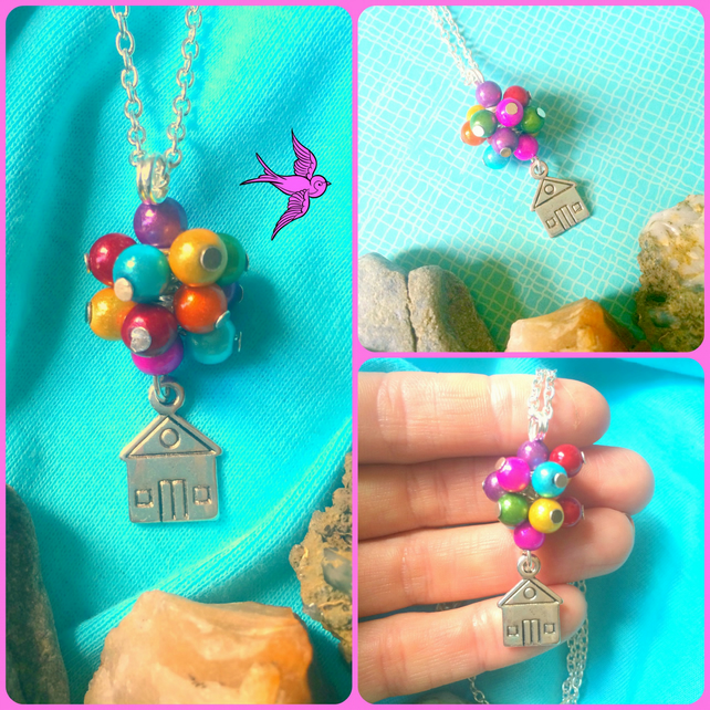 Sale Colourful and Whimsical Balloon lifting the house - UP - Necklace