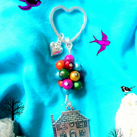 Larger - Colourful and Whimsical Balloon lifting the house - UP - Bagcharm Key