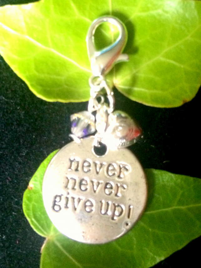 Positive Charm, NEVER NEVER GIVE UP zip charm, bracelet charm