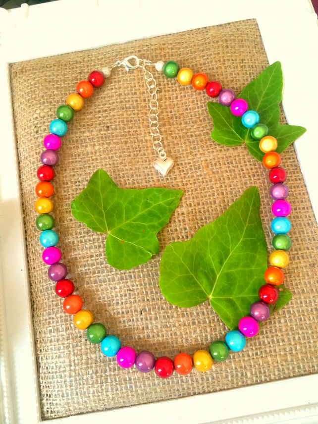Rainbow Illusion Bead Necklace - Truly Eyecatching