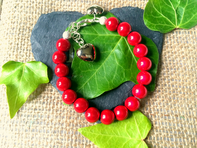 Sale Red Illusion Bead Bracelet - Truly Eyecatching