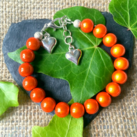 Sale Orange Illusion Bead Bracelet - Truly Eyecatching