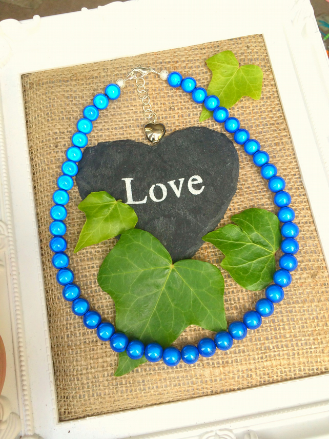 Royal Blue Illusion Bead Necklace - Truly Eyecatching