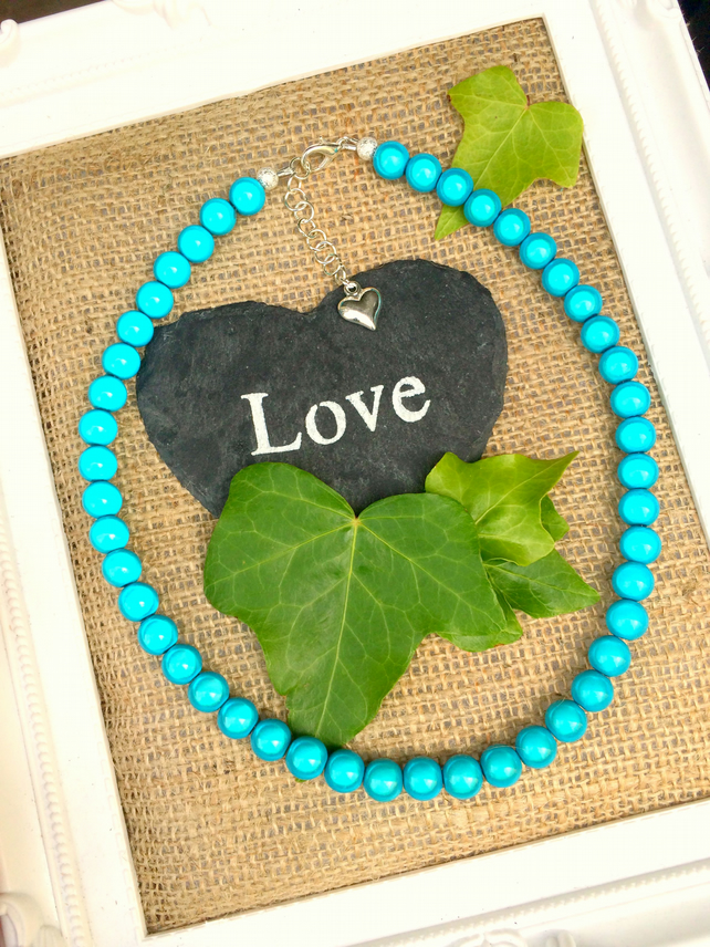 Turquoise Blue Illusion Bead Necklace - Truly Eyecatching