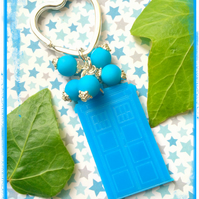 Dr Who Laser Cut Tardis Keyring with rubber beads