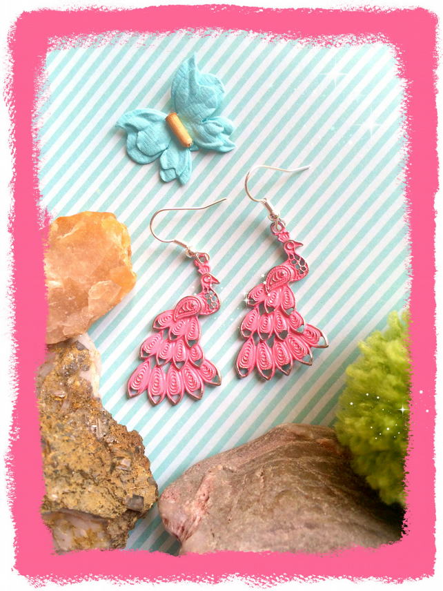 Pink Painted Peacock Earrings