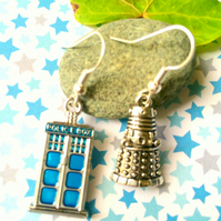 Dalek and Tardis Dr Who Earrings