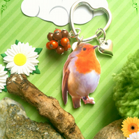Colourful Robin and Heart Beaded Keyring  Bag Charm