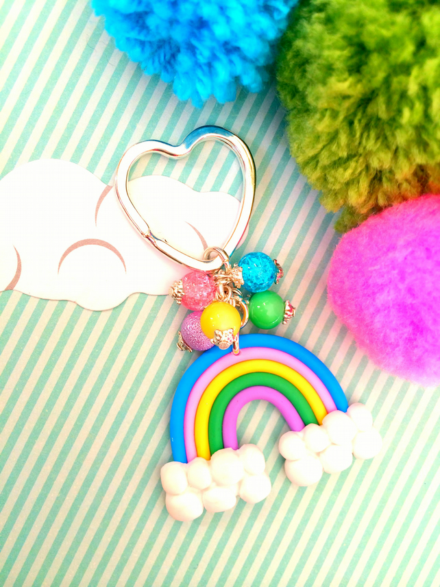 OFFER - Colourful Rainbow Beaded Keyring Bag Charm