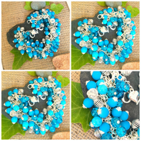 Offer Bright Blue and Silver Cluster Bracelet