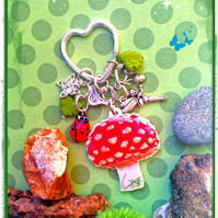 Sale - Toadstool, fairy and wildlife charms - Bagcharm Keyring