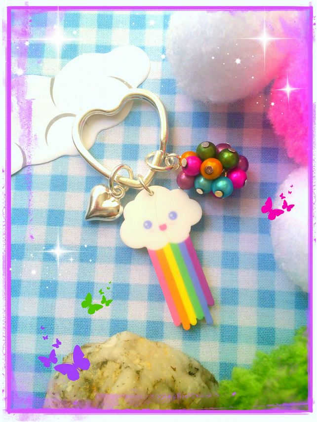 Mr Pooping Rainbow Cloud - Bagcharm  Keyring