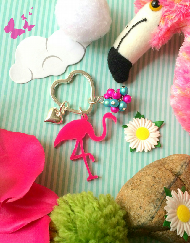 Pretty Flamingo Love Laser cut Bagcharm  Keyring