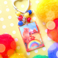 Sale - Rainbow TV Laser Cut - Bagcharm Keyring