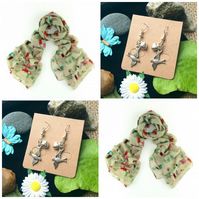 Discontinued - Beautiful Tucan scarf wrap with  Handmade Bird Earrings