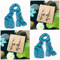 Discontinued - Pretty Pink Parrot Bright Blue scarf wrap Handmade Bird Earrings