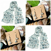 Discontinued - Beautiful Sea shell scarf wrap with Starfish Earrings