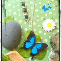 SALE - Black and Blue and Whimsical butterfly Necklace with illusion beads