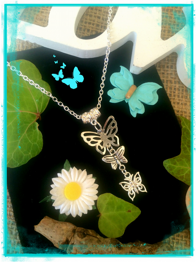 Butterfly Necklace - silver colour