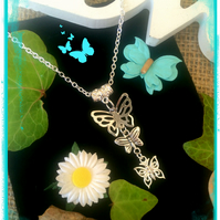 OFFER Butterfly Necklace - silver colour