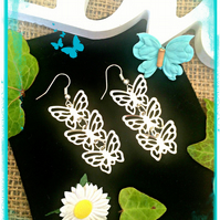 Butterfly Earrings  - silver colour