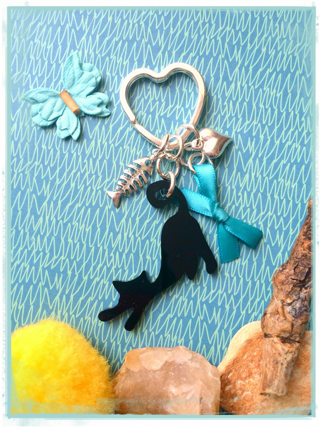 Cat Lovers Black Cat and Teal Bow  - Laser cut Bagcharm Keyring