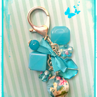 Blue - a mix of all shapes and sizes beads to make an eye-catching bag charm