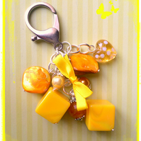 Yellow - a mix of all shapes and sizes beads to make an eye-catching bag charm