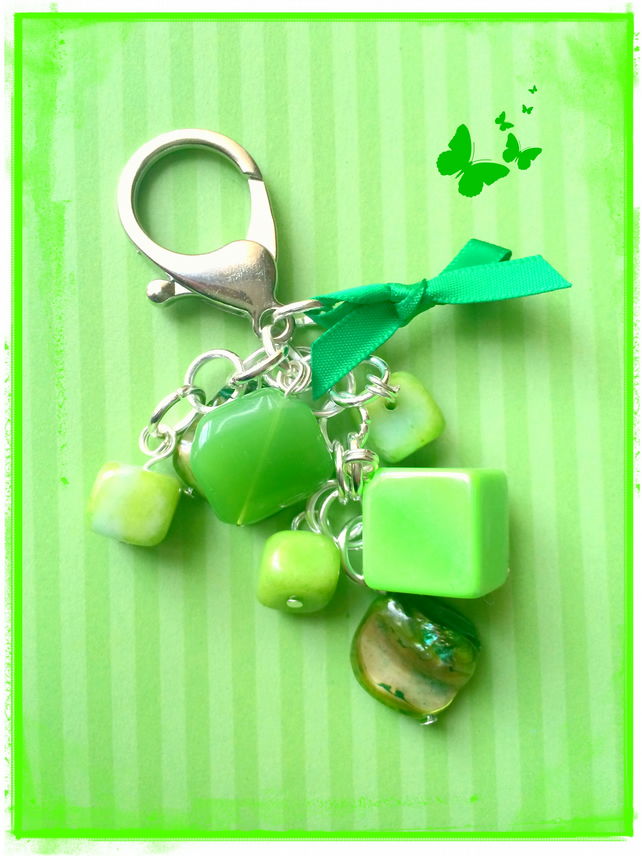 Green - a mix of all shapes and sizes beads to make an eye-catching bag charm
