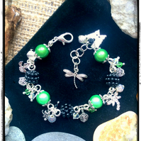 Sale Green, Black and Silver Beaded Charm bracelet with Swarovski crystals