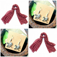 Discontinued -  Pinks Polo Horse Pony scarf wrap with Horse Earrings