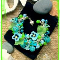 Blue and Green Flower Garden Themed bracelet :-)