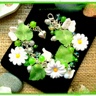 Offer White daisy and Green Flower Garden Themed bracelet :-)