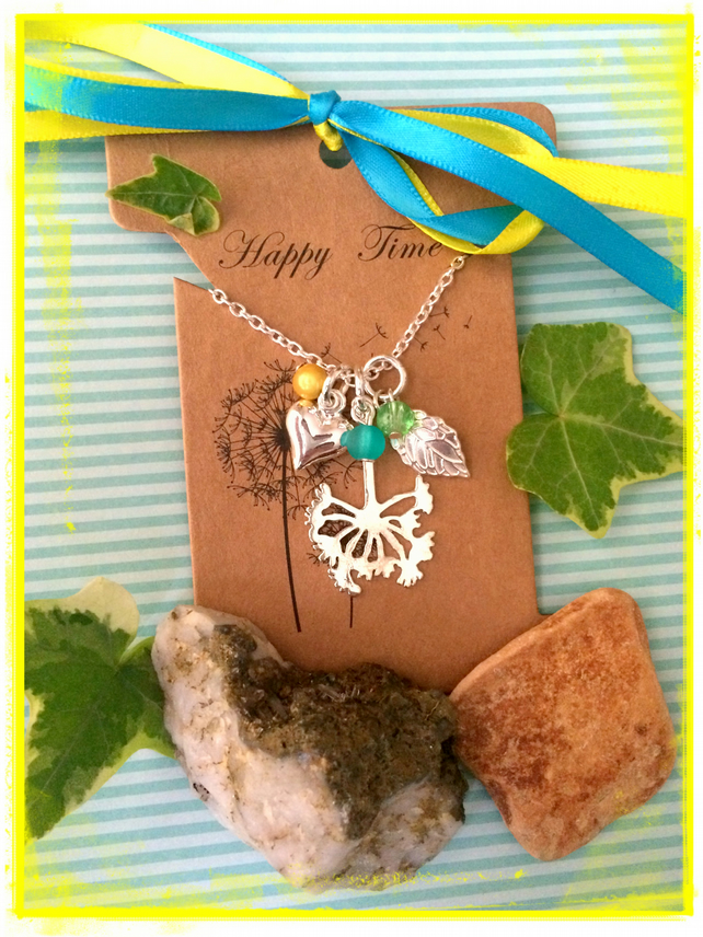 Dandelion Wish and Leaf Cluster necklace