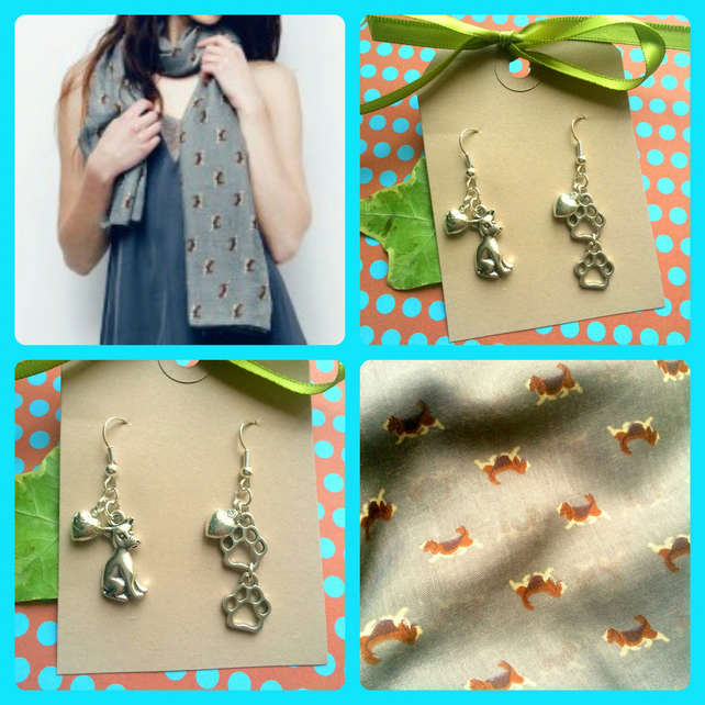 Discontinued - Dog print designed scarf with Dog and Paw Print Earrings