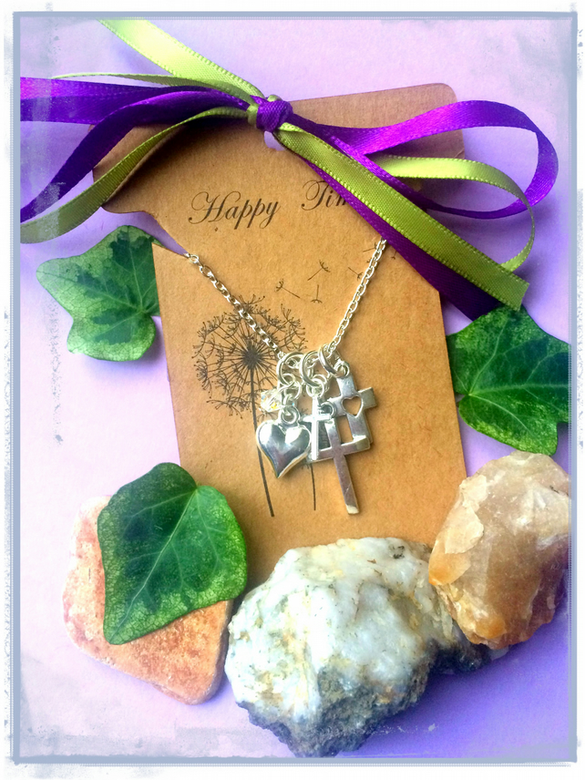 SALE Cross and Swarovski cluster Necklace