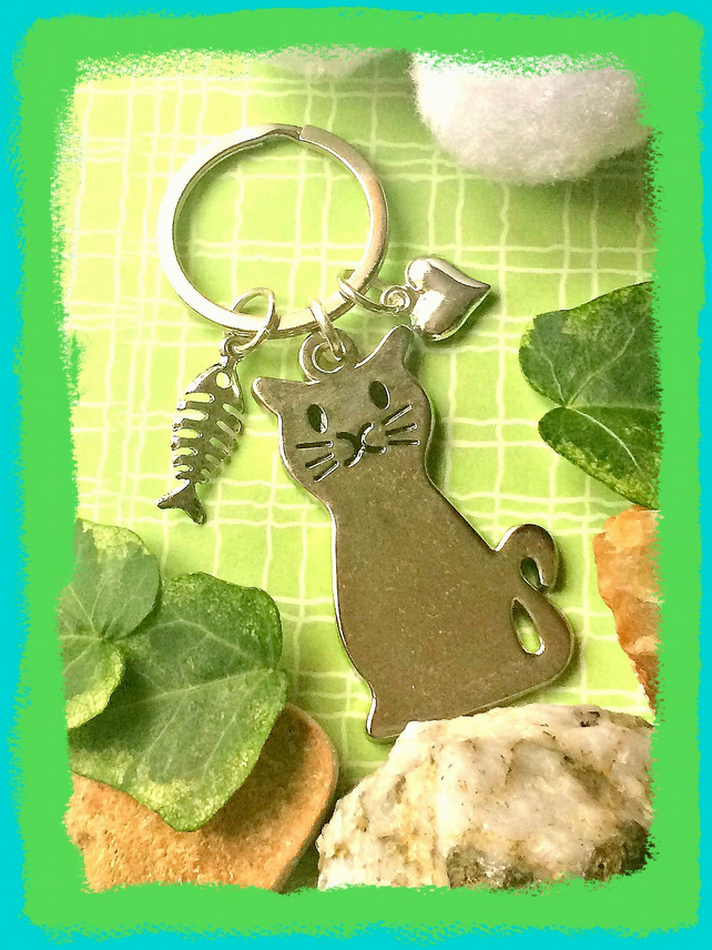 Cat Lovers Silver Metal Bagcharm  Keyring