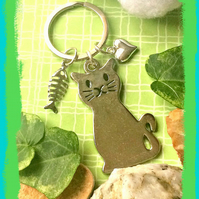 Sale Cat Lovers Silver Metal Bagcharm  Keyring