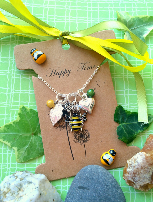 Bumble Bee Love cluster Necklace